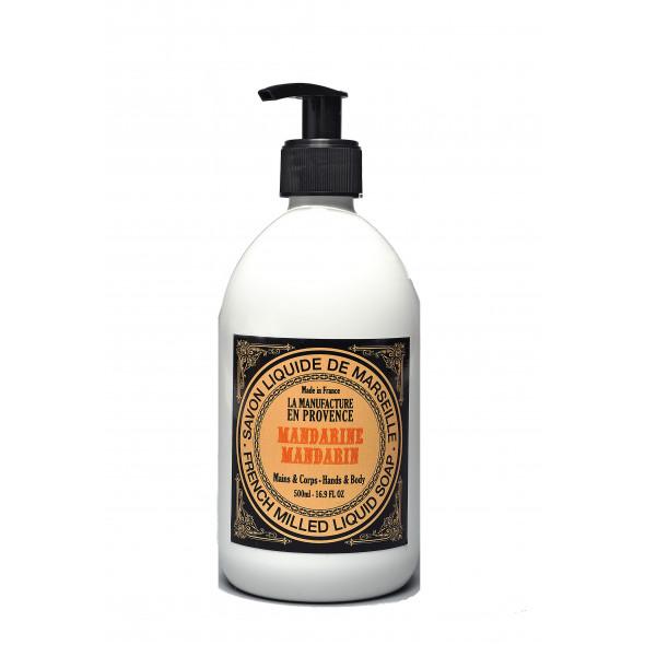 Savon liquide de Marseille Bio en pompe parfum mandarine 500 ml