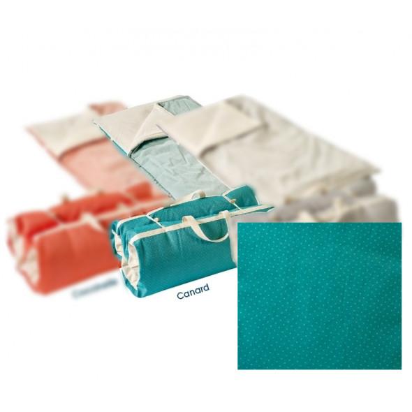 futon b b et couette coton bio bleu canard 60x120cm linge bio droguerie literie. Black Bedroom Furniture Sets. Home Design Ideas