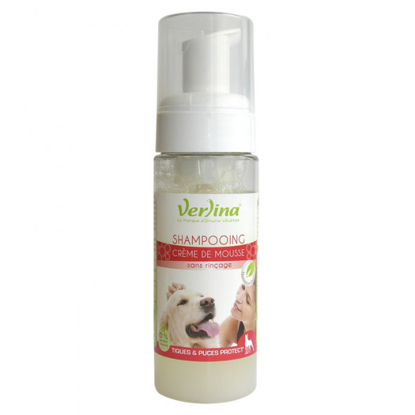 Shampooing naturel chien crème de mousse : protection tiques et puces 150ml VERLINA
